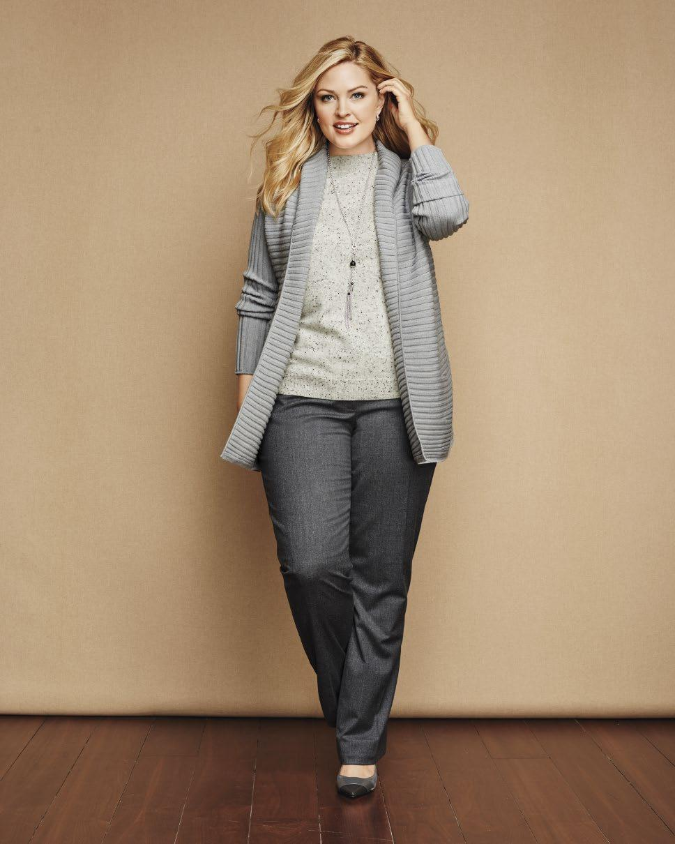 An open front sweater has the easy look that truly flatters.