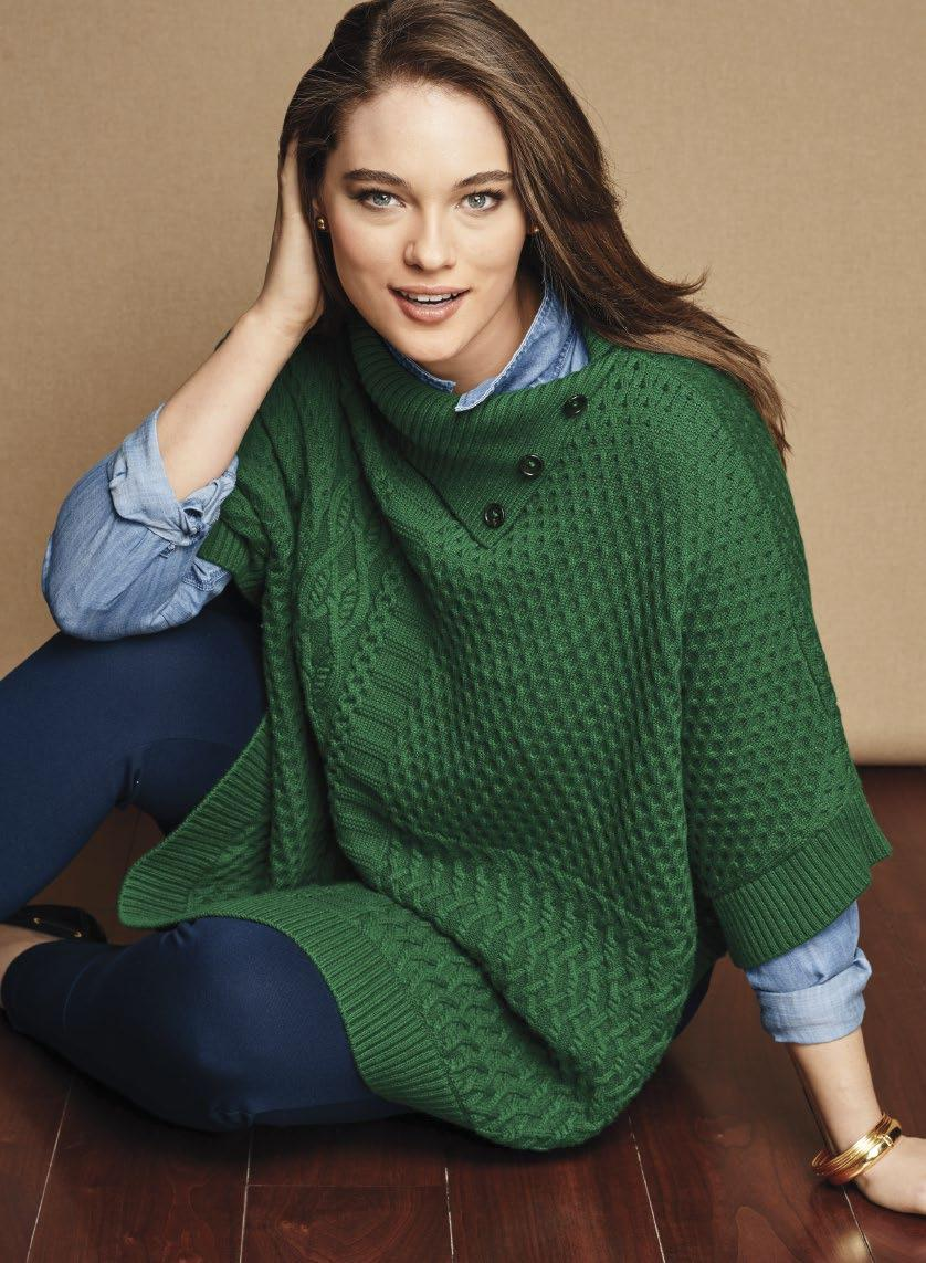 Layering is all about finding the right BALANCE. Mixed-Stitch Poncho in forest.