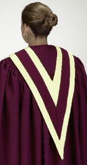 All style robes may be worn with or without a stole accent. Call to have a personal assistant assigned to your project.
