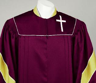 GH 511 HNPS GH 511 HNPS This outstanding tri-color robe is sure to be a winner with your choir! The features include, contrasting standing collar, sleeve chevrons and adjustable cuffs with Velcro.
