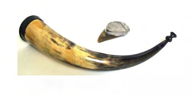 "4¼"" long and 1¼"" maximum width. Snuff horn 16½"" from lid to tip, and made from a complete longhorn by Peter Durie, Aberdeen, Scotland c1788-1818 (OP1477) his 'DURIE' touchmark inside the hinged lid."