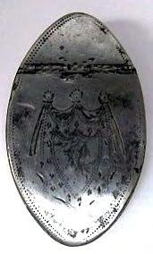 Large bright cut oval snuff box by unknown maker 'BC' his mark under base, and probably last quarter 18 th century.