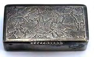 "and 7/16"" deep Snuff box with cast decorated lid with central love birds and foliate outer"