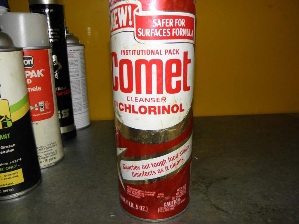 Chemical Name: Cleanser with Chlorinol Manufacturer: Comet Container