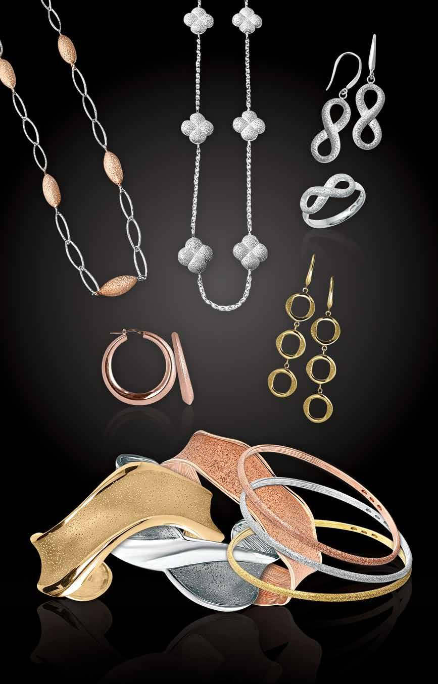 A K harles arnier O L L T O N L A. Sterling and 18kt rose gold 36 link necklace, $475. Sterling 17-19 flower station necklace, $290. Sterling infinity drop earrings, $135. Sterling infinity ring, $90.