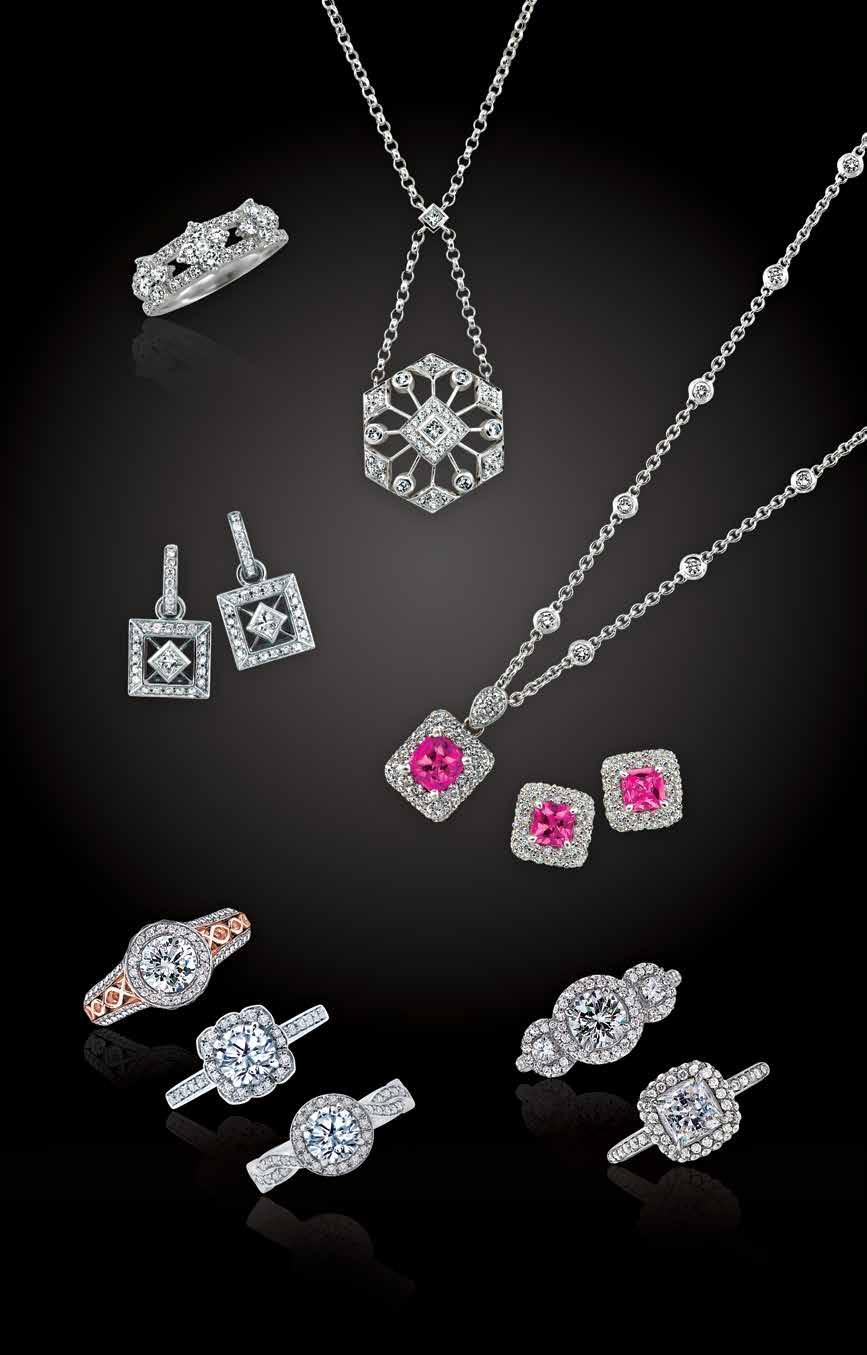 A Peter Storm O L L T O N A. 18kt 1.05ctw diamond clover ring, $5,350. 18kt.90ctw diamond hexagon design pendant, $4,385. 18kt 1.27ctw diamond square earrings, $6,490. 18kt 1.55ct pink sapphire and.