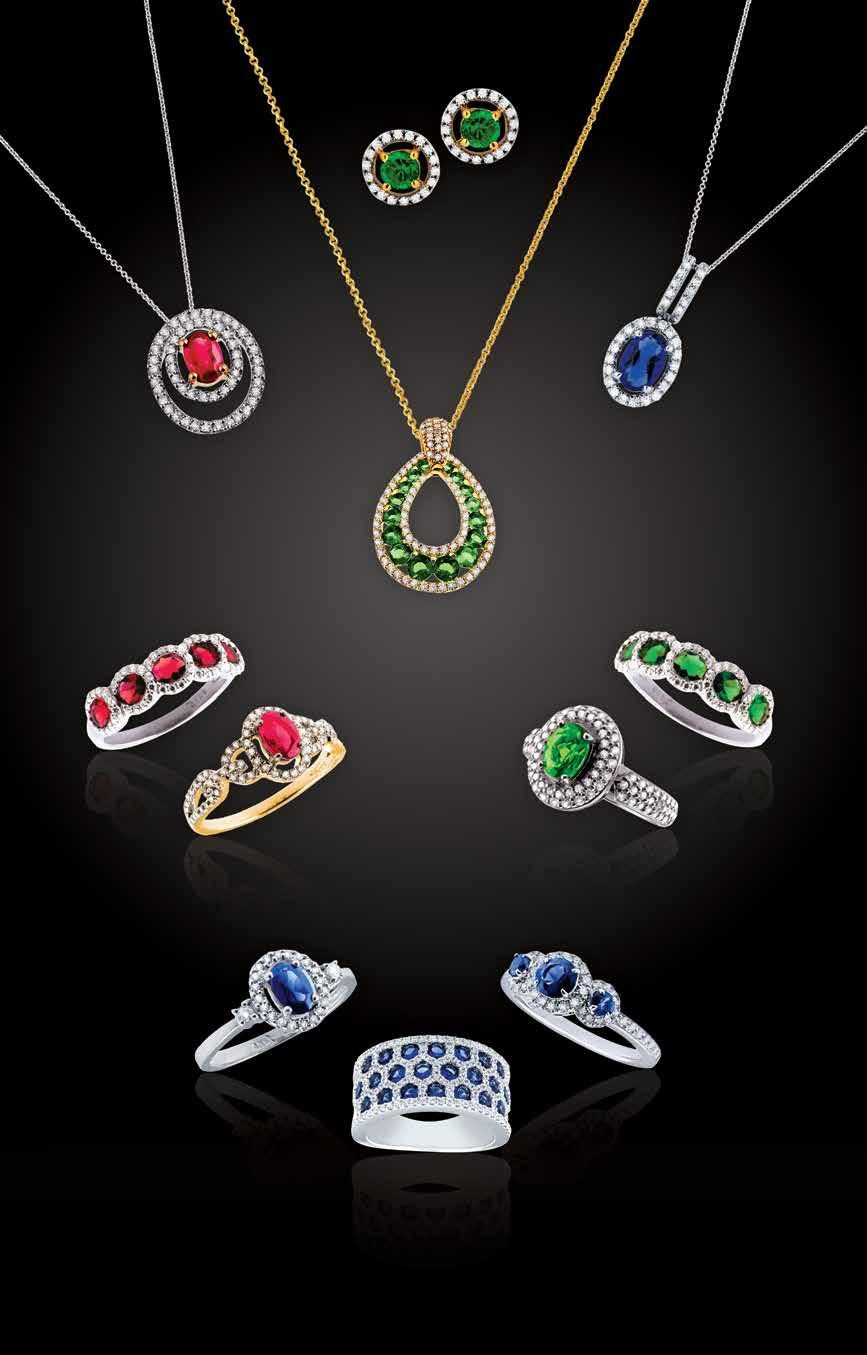 A K ana O L L T O N A. 14kt.66ct oval ruby and.32ctw diamond pendant, $2,155. 14kt.50ctw emerald and.18ctw diamond earrings, 1,625. 14kt 1.26ctw emerald and.