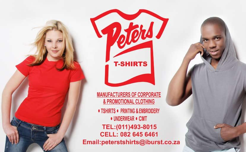Imagemakers/Identifit 021 447 1290 Imbumba 011 402 9171 Influence Clothing Marketing 021 551 3007 Integrated Clothing & Embroidery 084 785 3598 J P Home Textiles 011 472 8420 J M V Textiles 032 533
