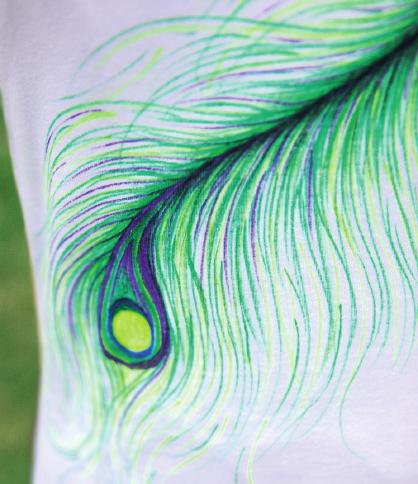 Dress it up with fabric markers in a feathery tangle of purples, greens and a hint of