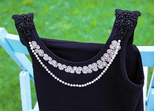 We simply stitched on beaded embellishments, rhinestone clusters and an artfully draped strand of pearls.