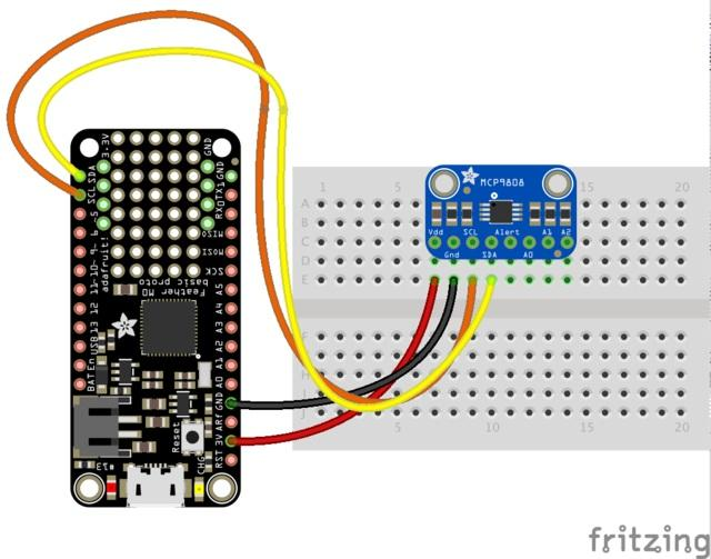 CircuitPython Code It's easy to use the MC9808 sensor with CircuitPython and the Adafruit CircuitPython MCP9808 module.