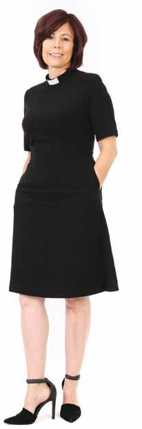 Knee Length Clergy Dress The dress is fully lined, with hidden side pockets and comes with a plastic white tab