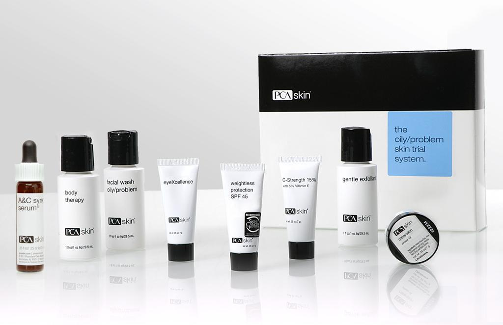 The Oily/Problem Skin Trial System This system offers a variety of products for patients with oily or breakout-prone skin.