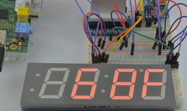 Overview This project combines a whole heap of modules to enable a Raspberry Pi to power a large 1.2 inch 4 digit 7 segment display.