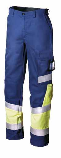 HI-VIS YELLOW/ NAVY BLUE Knee pad 4005 and 043 Front pockets, cargo pocket, horizontal/vertical pull-out ID card pocket, welding rod pocket, back pocket, ruler pocket and knee pad pockets.