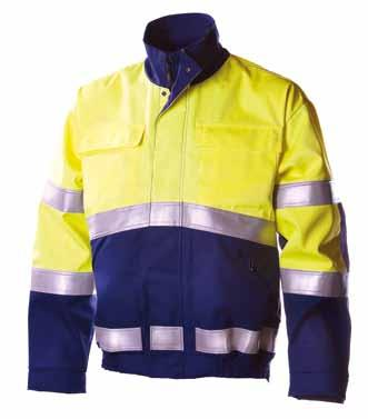 HI-VIS YELLOW/ NAVY BLUE Knee pad 4005 and 043 Mobile phone and pen pockets, front pockets, cargo pocket, welding rod pocket, back pocket, ruler pocket and knee pad pockets. High back.