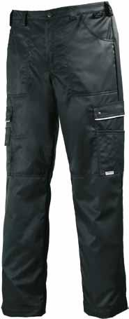 WINTER BIB TROUSERS 619 WINTER TROUSERS 7051 30% cotton, 245 g, water- and stainresistant, 60 g wadding BLACK u Front pockets, cargo pockets, mobile phone pocket, pen pocket