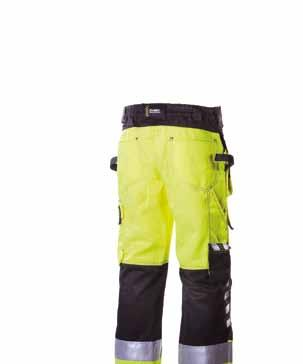 reinforcements in knees. Front pockets, cargo pocket, ID pocket, mobile phone pocket, pen loop, back pocket and knee-patch pockets. ¾ length.