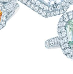 FROM LEFT: AN EMERALD-CUT FANCY DEEP