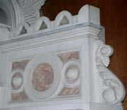 Carved marble altar with high relief details