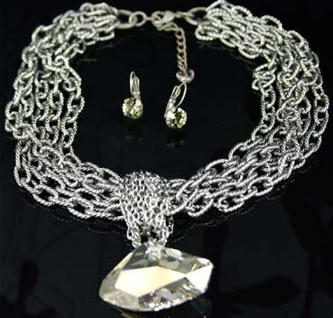 Earrings are 2 for $60) W1419-SH Day & Night Silver Shade Choker $179
