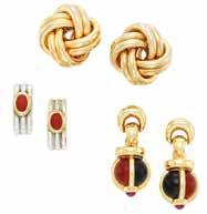 199 Gold and Diamond Ring 18 kt., 61 round diamonds ap. 2.00 cts., ap. 8.7 dwts. Size 6 1/2. 200 Pair of Gold and Jasper Pendant-Earrings, Angela ummings 18 kt.