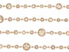 Property of a hicago Family 205 Long Rose Gold and olored Diamond hain Necklace 18 kt., one round Fancy Dark Yellowish-Brown diamond ap. 1.22 cts.