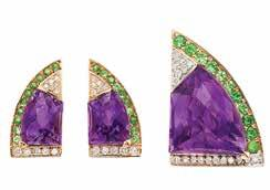 Property of a Bel Air Resident 302 Gold and Gem-Set hevron Bracelet 18 kt., 9 chevron-shaped buff-topped amethyst, citrine, blue topaz, pink & green tourmaline, ap. 66.1 dwts.