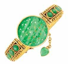 With Mason Kay report no. 336216, type A natural jadeite jade, no dye or polymer detected. 333 Gold, Diamond and Emerald Bracelet and Ring 18 & 14 kt., round diamonds ap. 6.85 cts., ap. 24.