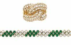 , 2 carved jade, 9 oval, cushion-cut & cabochon rubies, 6 emerald-cut, round & cabochon emeralds, one round opal, 35 rose-cut diamonds, ap. 13.5 dwts. With Mason Kay report no.