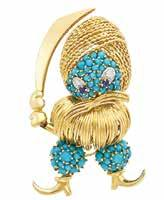 Estate of Dorthy Leonard 5 Gold, Platinum, Diamond, Turquoise and Enamel Bird s Nest Brooch 18 kt.