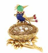 Property of an Old Southern alifornia Family 6 Gold, Sapphire, Emerald, Ruby and ultured Pearl Birds Nest lip-brooch,