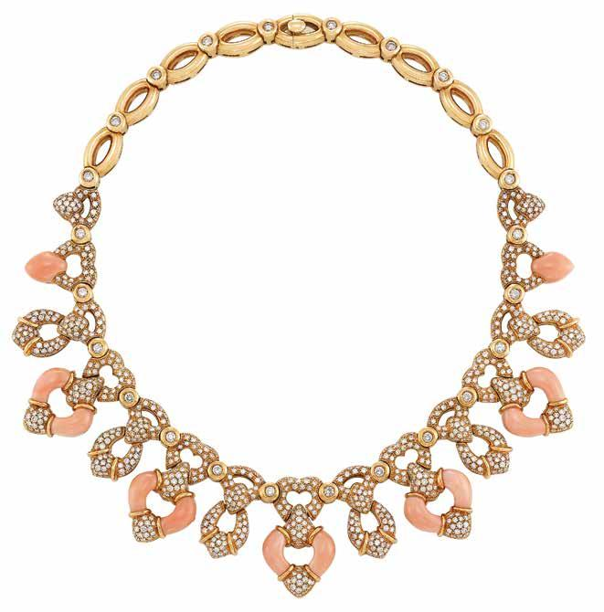 The ollection of Elizabeth Taylor 439 438 440 437 437 Gold, oral and Diamond Necklace, Andreoli 18 kt., 1027 round diamonds ap. 14.00 cts., signed Andreoli, ap. 124.3 dwts. Length 15 1/2 inches.