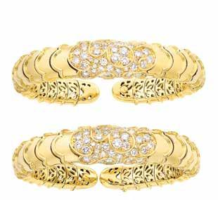 Property of a alifornia ollector $6,000-8,000 448 Pair of Gold and Diamond Onda Bracelets, Marina B. 18 kt., 88 round diamonds ap.