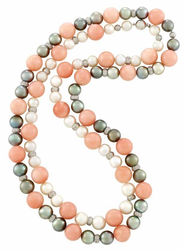 477 475 479 478 476 474 474 Two White Gold, Rose Quartz, ultured Pearl, olored ultured Pearl and Diamond Necklaces 18 kt., 28 rose quartz beads, 28 white pearls ap. 12.7 to 10.1 mm.