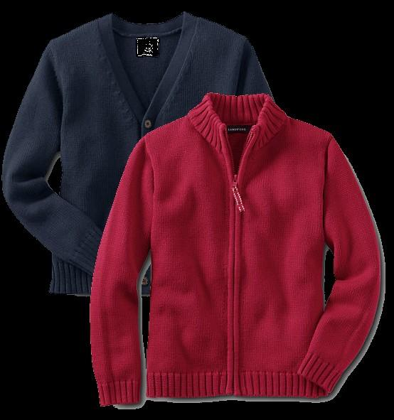 Cold Weather Options Red, white, navy, or gray solid color light jackets (with full zipper only no half zippers) can be worn