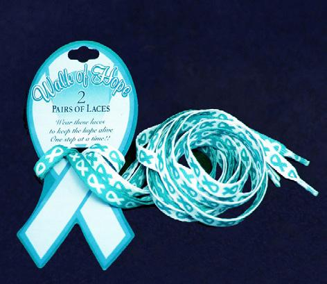 Each white cotton hat has a beautiful teal crystal ribbon on the front.