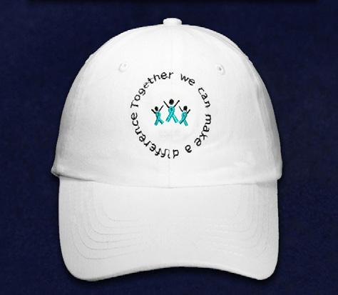 Each white cotton hat has an embroidered front that says, Together We Can Make A