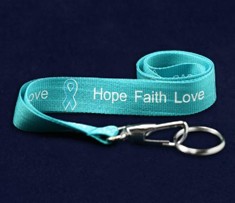 Faith, Love. Each bear is 9 inches tall. (TB-04W-3) Qty: 12/pkg. Teal Ribbon Stress Balls.