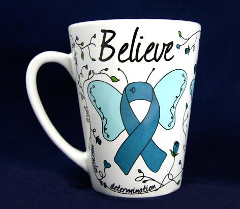 Small Ribbon Magnet - Find The Cure. Each 4 inch teal ribbon magnet has the words Find The Cure.