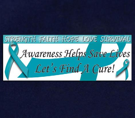Teal ribbons with the words Hope, Faith, Love (RIB-3) Qty: 10 yards. Small Thank You Cards.