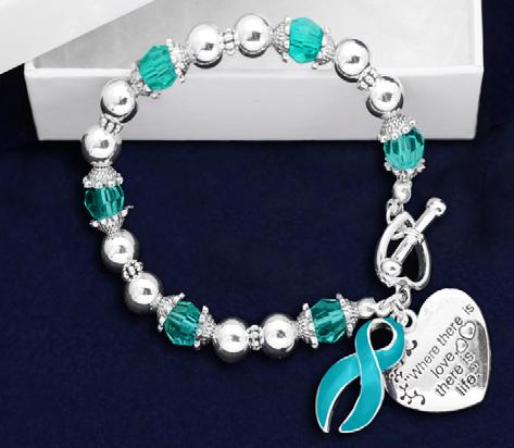Teal Ribbon Bracelets Where There Is Love Bracelet.