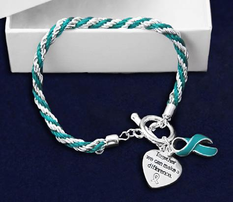 A teal ribbon charm and a heart charm that says, Where There Is Love There Is Life. Comes in optional gift box.
