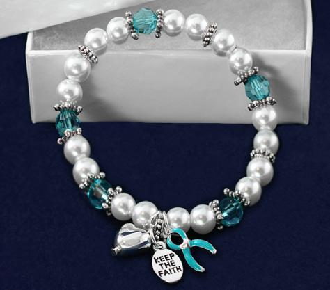 Sterling silver plated linked bracelet with a heart charm that has a teal ribbon. Comes in optional gift box.