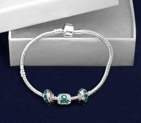 Sterling silver plated bracelet that has charms that say Hope, Faith, Love along with ribbon charms.
