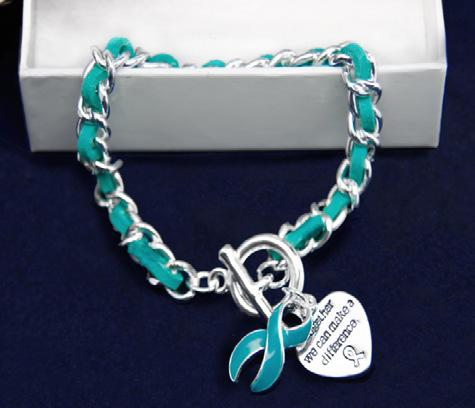 Sterling silver plated toggle bracelet with a teal string wrapped around a silver metal chain.