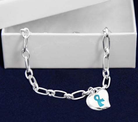A flexible bangle bracelet that has the words Find The Cure with teal ribbons. Adult Size: (B-22-3F) 7.5 in.