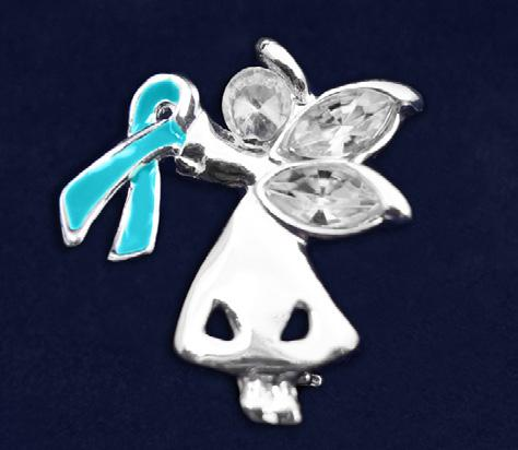 Teal Ribbon Pins Angel By My Side Pin. This is truly a beautiful pin.