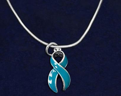 Teal Ribbon Necklaces Large Teal Ribbon Necklace.