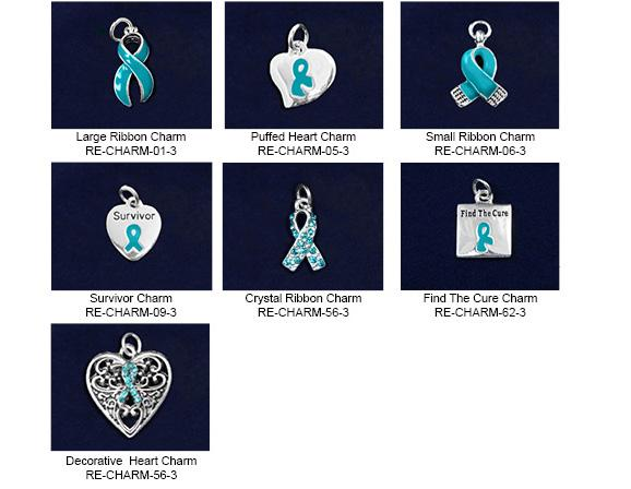 Teal Ribbon Charms MISCELLANEOUS: Large Ribbon Charm.